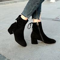 女鞋子2018秋冬季新款粗跟磨砂绒面短靴侧拉链高跟马丁靴弹力袜靴