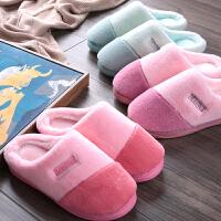 情侣时尚棉拖鞋女冬季厚底保暖居家室内防滑软底家用毛毛月子拖鞋男士