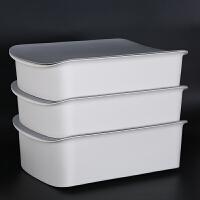 衣柜内衣收纳盒放内裤袜子防水整理盒子抽屉式分格学生宿舍三合一 大号三件套 白箱灰盖