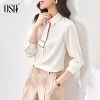 OSA气质职业衬衫女设计感小众长袖衬衣时尚春装2021新款百搭上衣