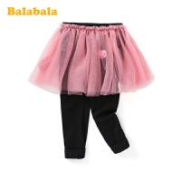 巴拉巴拉儿童裤子女童长裤春季2020新款小童宝宝网纱假两件休闲裤