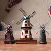 复古荷兰风车模型工艺摆件咖啡厅客厅电视柜酒柜装饰品创意摆设