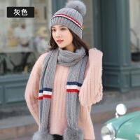 帽子女秋冬季时尚韩版百搭甜美可爱针织冬天保暖学生毛线帽围巾两件套
