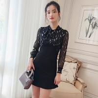 【Q】欧洲站女装2018春新款气质飘带领时髦撞色修身荷叶边连衣裙
