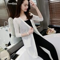 薄针织衫女开衫中长款毛衣夏装新款韩版七分袖披肩外套空调衫