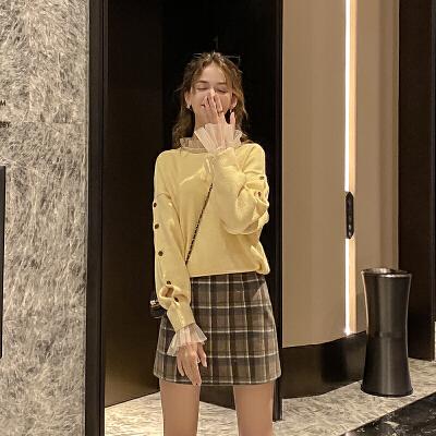 毛菇小象毛衣女秋冬外穿套头2063新款宽松圆领显瘦绑带毛针织衫
