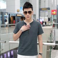 夏季民族风V领t恤男士亚麻短袖T恤加肥加大码韩版修身休闲上衣