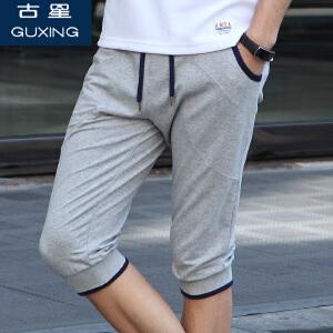 (满100减30/满279减100)古星夏季新款小脚针织运动七分裤休闲哈伦男士跑步裤篮球裤短裤子