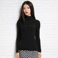 2018春季新款女士高领纯山羊绒衫修身短款显瘦长袖针织毛衣镂空