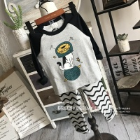 韩国儿童秋冬加绒有机棉居家服套装男女童保暖软糯两件套秋衣秋裤