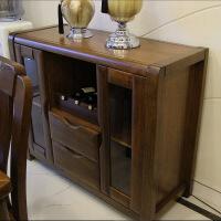 酒柜 实木 全实木餐边柜胡桃木酒柜中式简约现代客厅储物柜 双门
