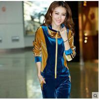 长袖运动服卫衣女     韩国金丝天鹅绒运动套装女款    休闲套装时尚