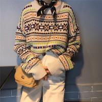 秋冬韩版复古图案圆领套头毛衣外套女装宽松加厚长袖针织衫女上衣