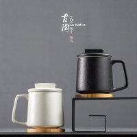 陶瓷马克杯带盖过滤茶水分离茶杯办公室泡茶杯子家用花茶水杯定制