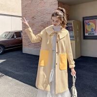 MG小象中长款格子毛呢外套女2019流行新款宽松学院风气质呢子大衣