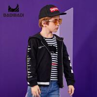 【2件3折价:59】巴拉巴拉旗下 巴帝巴帝童装男童黑色运动外套拉链开衫中大童19春新款