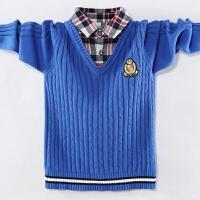 男童新款假两件秋衬衫领儿童纯棉外套中大童针织衫毛衣韩版童装