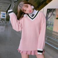 学院风V领毛衣女套头2018秋装新款韩国学生宽松打底针织衫 均码