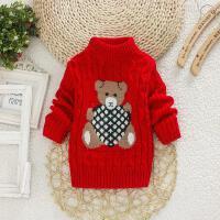 女童毛衣套头秋款男童毛衣加绒加厚宝宝毛衣打底衫高领儿童毛衣