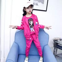 童装女童春装套装2017新款韩版中大儿童卫衣洋气三件套春秋运动潮 春款女孩三件套 玫红色