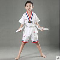 新款短袖纯棉跆拳道服短裤袖男女儿童透气跆拳道道服