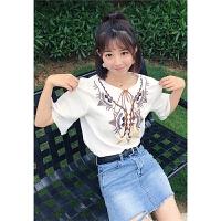夏季韩版女装民族风棉麻刺绣短袖T恤上衣女宽松流苏时尚打底上衣 白色