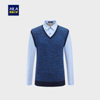 HLA/海澜之家绅士背心款双领针织衫加绒保暖假两件男
