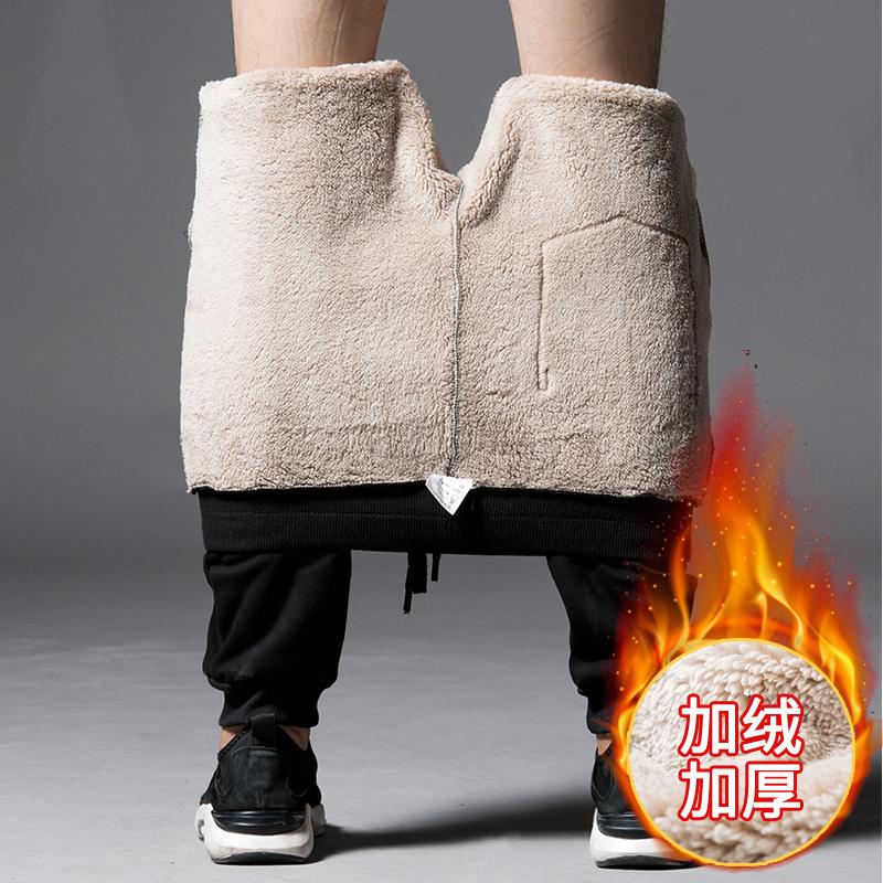 男士运动裤男加绒加厚棉裤冬季长裤保暖羊羔绒卫裤收口休闲裤子男668加绒裤