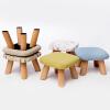 【领券立减50】家逸 换鞋凳 圆凳 实木矮凳 布艺沙发凳 板凳儿童餐椅 小凳子