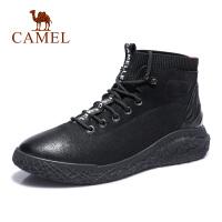 camel骆驼男鞋 秋季新款时尚高帮潮靴拼接工装靴系带休闲靴子男