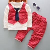 百槿 2018春季男童领带格子小西服三件套 1-5岁身高70-120格子马甲衬衫长裤套装