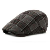 秋冬季男士鸭舌帽中老年人休闲中年老人帽子棉保暖帽鸭嘴帽
