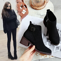 靴子女短靴2018秋冬新款高跟粗跟ins�R丁靴女短筒�W�t瘦瘦靴棉鞋