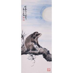 著名画家    高奇峰《望月图》