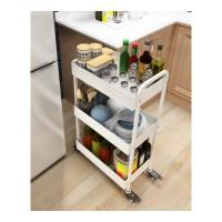 厨房置物架落地移动调料架3层推车家居风收纳架储物架层架 白色