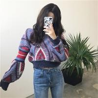 韩国chic 复古波普风彩色撞色几何图案灯笼泡泡袖短款毛衣上衣