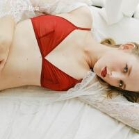 巴士微醺玫瑰性感本命年红色内衣透明文胸套装 红色 M