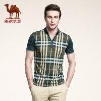 骆驼男装 夏款修身t恤男短袖 男式衬衫领格子拼色商务休闲体恤潮