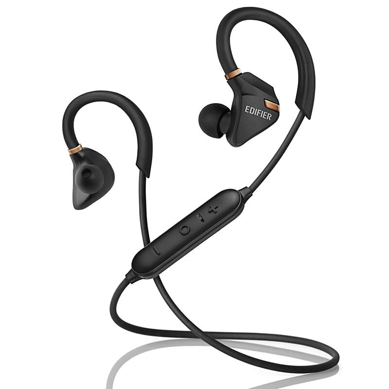 Edifier 漫步者 W296BT 立体声蓝牙运动耳机 入耳式耳机 手机耳机 带麦可通话 暗金黑立体声蓝牙运动耳机
