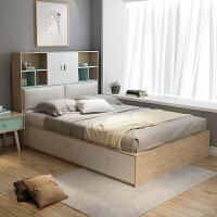 现代简约高箱储物床1.2米小户型板式床1.5米单人衣柜床 +乳胶床垫+1柜