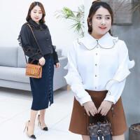 加肥加大码200斤胖MM韩版木耳边气质娃娃领长袖衬衫雪纺衫女春季
