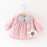 女宝宝韩版女童加绒加厚裙子儿童装公主裙小童加绒保暖女 加绒泡泡送配饰包 粉色