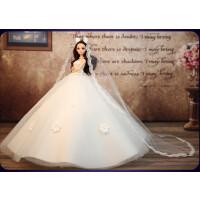 芭比娃娃婚纱娃娃拖尾套装大礼盒3D真眼女孩儿童生日礼物玩具公主