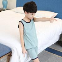 儿童睡衣男童睡衣夏季薄款纯棉中大童短袖家居服夏天小孩背心套装