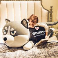 【家装节 夏季狂欢】哈士奇公仔布娃娃可爱二哈毛绒玩具狗狗熊女孩睡觉抱枕长条枕玩偶