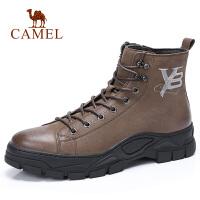 【下单立减120元】camel骆驼男鞋 秋季新款时尚运动休闲高帮靴皮质舒适高帮靴子男鞋