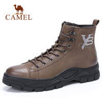 camel骆驼男鞋 秋季新款时尚运动休闲高帮靴皮质舒适高帮靴子男鞋