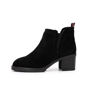Camel/骆驼女鞋2018冬季新款 淑女魅力时尚潮流气质粗跟短筒女靴