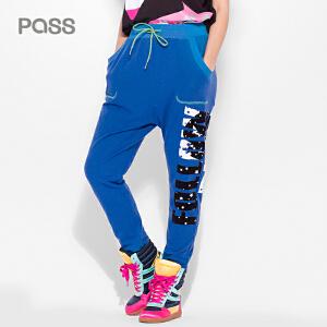 PASS时尚薄款休闲长裤夏装字母印花显瘦哈伦裤宽松大口袋女裤