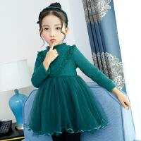 女童加绒连衣裙2017新款韩版秋季长袖加厚保暖针织毛衣公主裙子 绿 色(V款) 针织加绒加厚